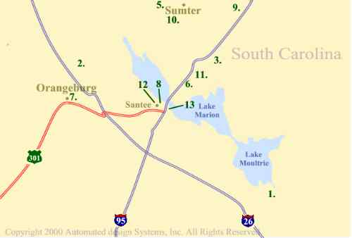 Santee Golf Course Map for Santee South Carolina Area Golf Courses